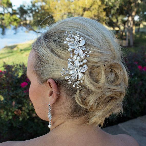 Mariage - Freshwater pearl bridal hair accessories comb, wedding hair comb, Swarovski crystal rhinestone hair comb hair comb wedding headpieces
