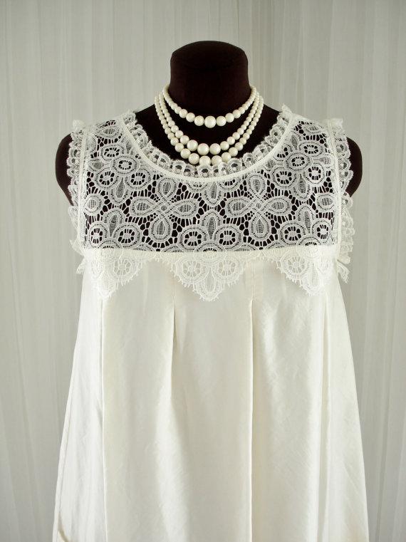 Vintage Silk And Lace Mod GoGo Twiggy Wedding Dress