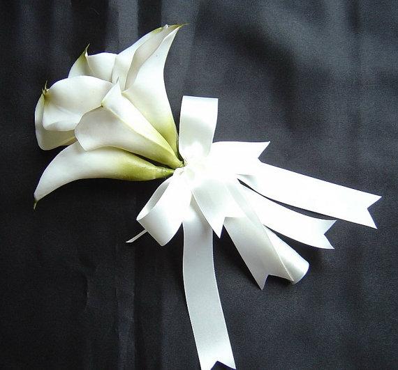 زفاف - White Calla Lily Bridal Bouquet, Pink Calla Lily  Bouquet, Silk Calla Lily Bouquets,  Bridesmaids Bouquets