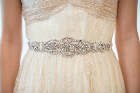 زفاف - Bridal Gown Sash, Wedding Dress Sash, Rhinestone  Beaded Sash