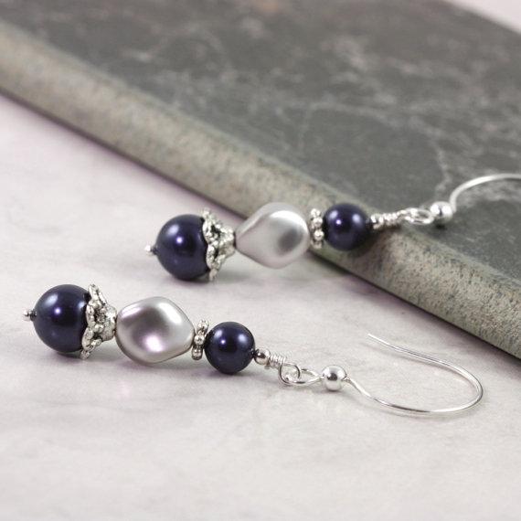 زفاف - Blue Pearl Earrings Gray Wedding Jewelry Sterling Silver Earrings Bridal Collection