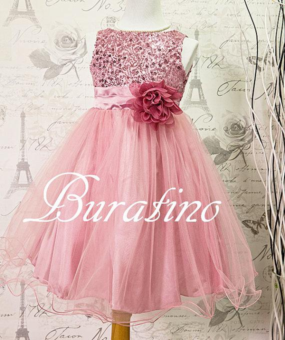Flower Girl Dress Dusty Rose/Pink Sequin Double Mesh Flower Girl ...