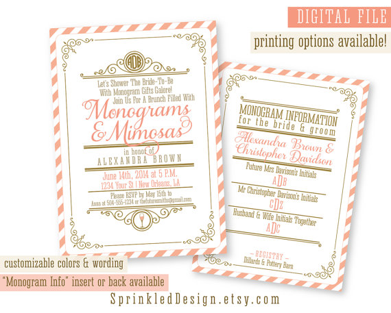 monograms and mimosas bridal shower invitation coral gold navy teal blue purple monograms and margaritas custom printable