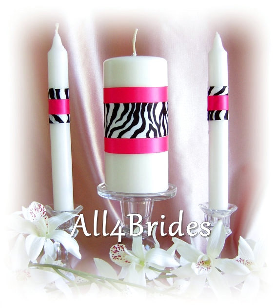Mariage - Zebra Print Wedding Unity Candle and Tapers Set, Custom Colors, Wedding Ceremony Candles