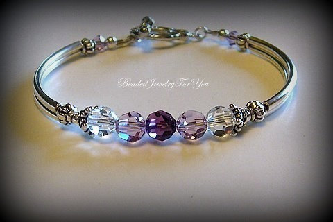 Mariage - FIVE Piece Bridesmaid Gift Set: Amethyst Crystal Bracelet, Purple Beaded Bracelet, Crystal AB Jewelry, Light Amethyst, Bridal Jewelry, Bride