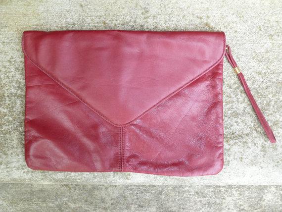 Mariage - vintage burgundy purse dark red bag Deep Burgundy new black Wristlet Clutch, Genuine Leather, maroon oxblood, perfect for winter wedding