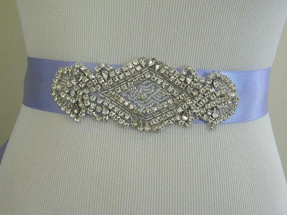 Mariage - Wedding Sash/Belt,Bridal Sash,Rhinestone Sash,Beaded Sash,- Iris Wedding Sash