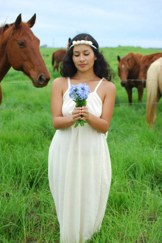 Wedding - Boho Wedding - Maxi Dress - Full Length Dress - Organic Clothing - Eco Friendly - Organic Cotton Hemp Natural Color
