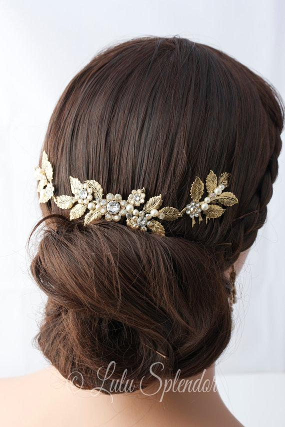 Hochzeit - Antique Gold Wedding Headpiece Leaf Head Piece Bridal Hair Comb Swarovski Golden Shadow Crystal Leaf Hair Vine Bridal Hair Accessory STACEY