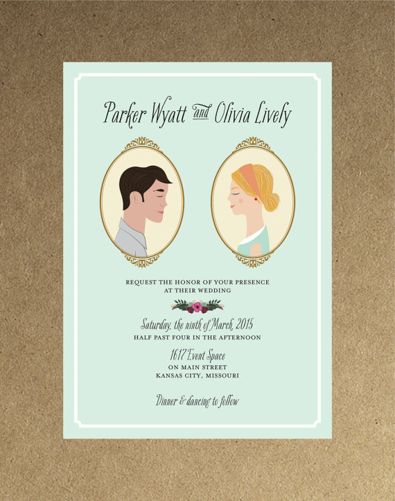 Vintage custom portrait cameo wedding invitation diy printable whimsical wedding rustic wedding vintage wedding