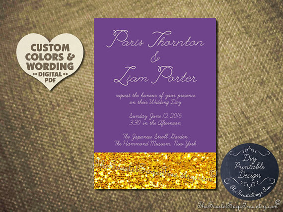 Printable Gold Invitation Idea Purple Custom Color DIY Wedding – Gold and Purple Wedding Invitations