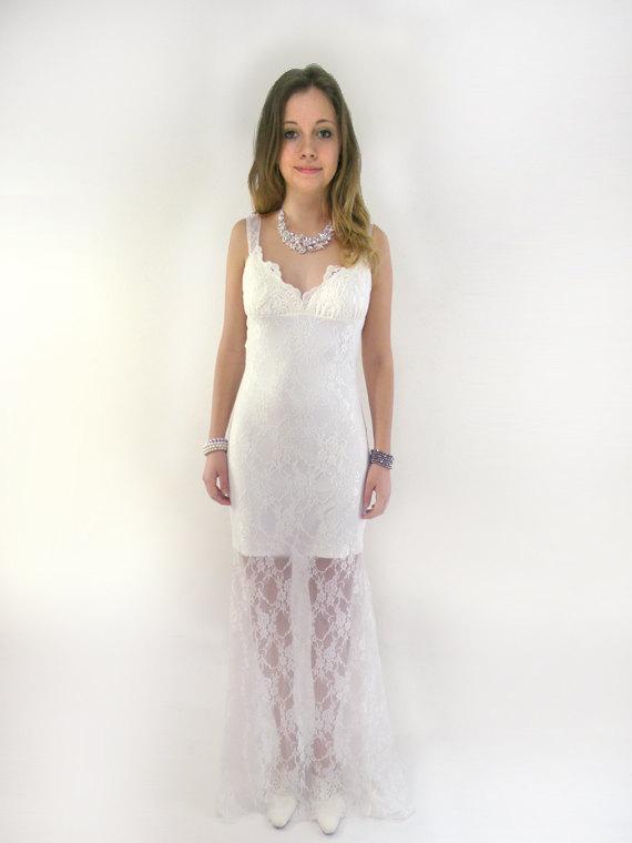 Hochzeit - Romantic wedding dress, backless wedding dress, beach wedding dress woodland wedding dress : MESILA ivory lace wedding dress