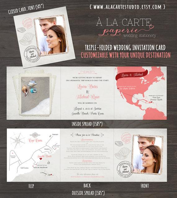 coral sand destination wedding invitation tri fold invitation