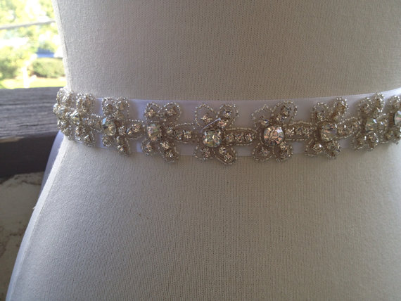 Свадьба - Briadal sash Silver Wedding Belt Sash,Bridal Sash,Best seller sash ,Rhinestone Crystal Sash,Swarovski beaded sash, Sash Bride