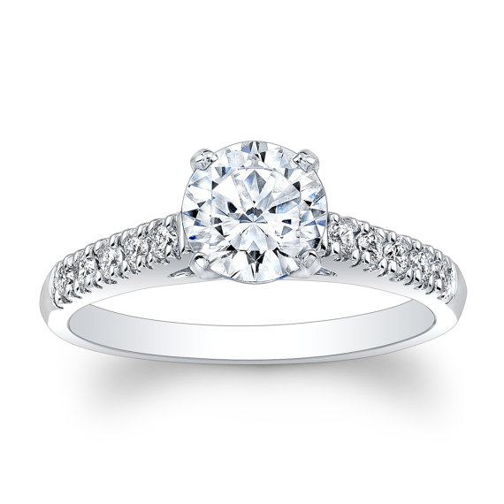 Hochzeit - Platinum diamond cathedral engagement ring 0.30 ctw G-VS2 quality with 1ct natural round white sapphire center