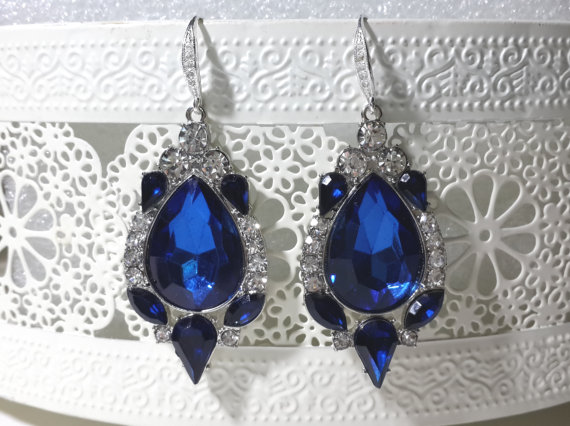 Wedding - Bridal chandelier Blue Wedding Earrings Crystal Bridal Earrings,Swarovski Crystal Earrings Bridal Jewelry Bridal Rhinestone Earrings