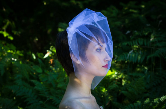 Hochzeit - Tulle 18 Inch Bridal Birdcage Veil Blusher Veil Wedding Veil Ivory Veil White Wedding Veil Diamond White Veil Champagne Veil Black Veil