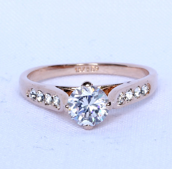 Wedding - ON SALE! 18ct Rose gold Solitaire accent ring with white created diamonds - engagement ring - cocktail ring