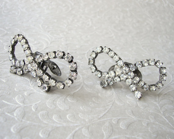 Mariage - Vintage MUSI Shoe Clips Rhinestone Bow Wedding Jewelry Accessory Costume Accessories Bridal Prom Shoes Ballroom Pageant Formal MUSI Bling