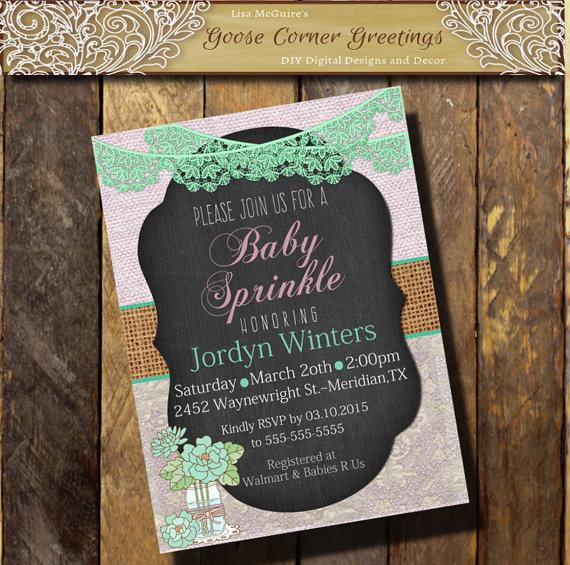 Hochzeit - Baby Sprinkle Invitation MASON JAR Chalkboard Burlap Lace Shabby Chic Rehearsal Dinner Wedding invitations any color Lavender mint
