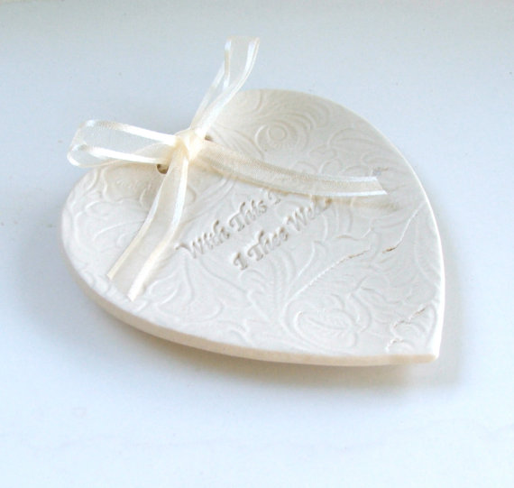 """Wedding - Weddings, Ring Pillow, Hand Built Porcelain, Wedding Ring Dish,  """"With This Ring I Thee Wed"""" Lacy Background"""