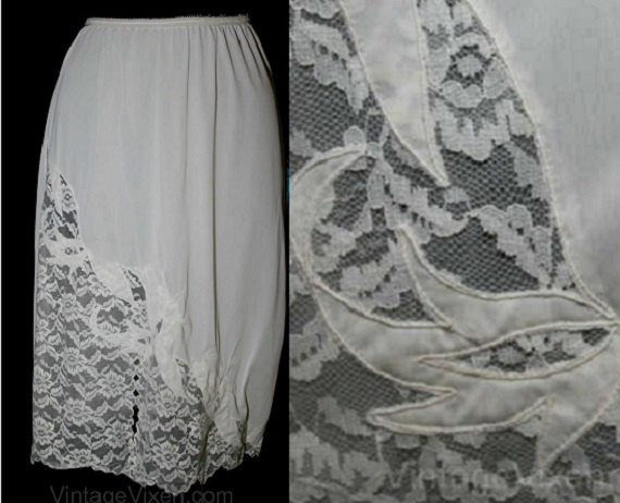 Свадьба - Elegant 50s Sweeping Flourish Lace Half Slip - White - 1950s Lingerie - Aristocraft - Size 10 11  - Sheer Lace - Waist 20 to 30 -  38798-1