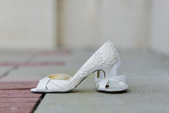 Wedding - Wedding Shoes - Ivory Bridal Shoes, Ivory Wedding Shoes with Ivory Lace. US Size 7