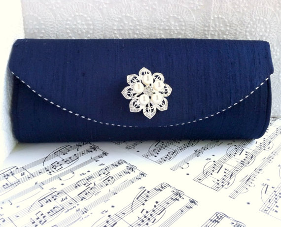 Wedding - Navy blue clutch, blue silk clutch with rhinestone and pearl brooch, nautical clutch, nautical wedding, bridal bag