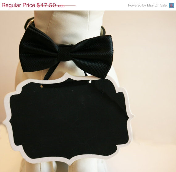 Wedding - Black Dog Bow Tie and Small Chalk Board attached to the collar, Bridal Sign, Here Comes the Bride Sign, Ring Bearer, Proposal sign