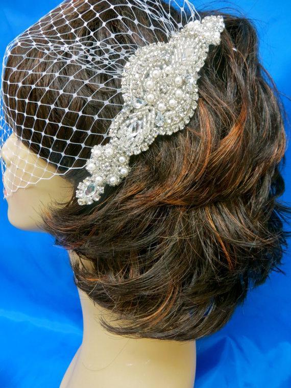 Wedding - Bandeau Birdcage Veil, Wedding Blusher Veil, Rhinestone Applique Veil