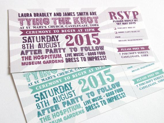 Hochzeit - Festival Wedding Invitation with RSVP card - Festival ticket SAMPLE