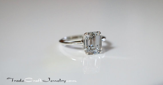 205361978a6ef Emerald Step Cut Cubic Zirconia Ring Sterling Silver CZ Engagement ...