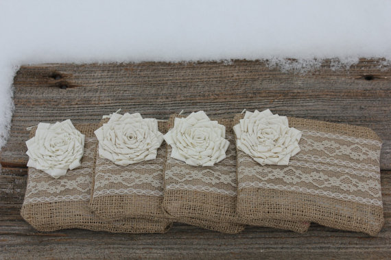 Hochzeit - 4 Burlap and Lace Wedding Clutches - Bridesmaid Clutch - Bridal Party - You Choose The Color Flower and Lining