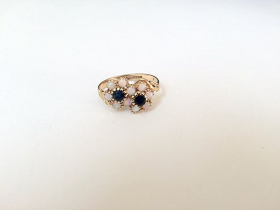 زفاف - Vintage Gold Ring.Sapphire Ring.Opal Ring.Gold Bypass Ring.Engagement Ring.Wedding Ring.Size 7 1/4 Gold Ring.Size 7 1/4 Ring.Gold Ring
