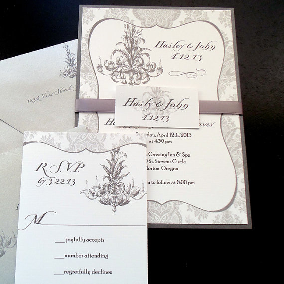 Hochzeit - Gray Damask Chandelier Wedding Invitation Sets - Romantic White Elegant Suite -  sample only