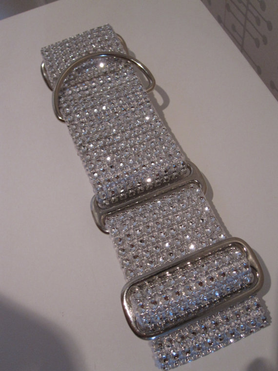 """Свадьба - Taylor's Wedding Bling.  2"""" White Bling, Faux Rhinestone Martingale or Quick Release Dog Collar"""