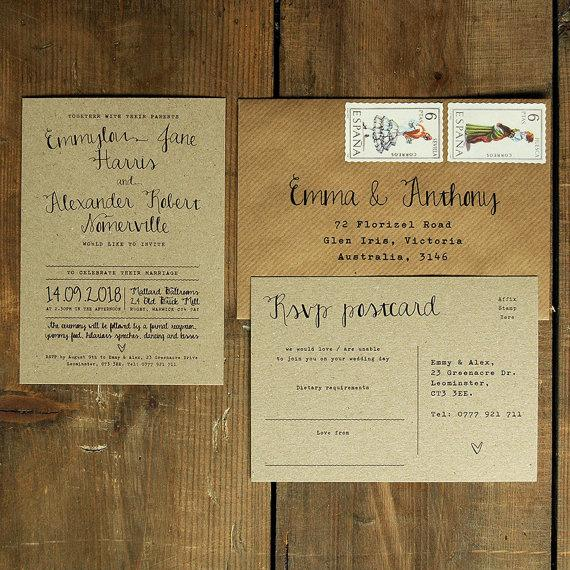calligraphy wedding invitation save the date on brown kraft