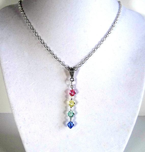 "Свадьба - Handmade Swarovski Crystal Pendant on 18"" Silver Plated Chain, Gifts for Her, Wedding, Bridal, Jewelry, Handmade Jewelry"