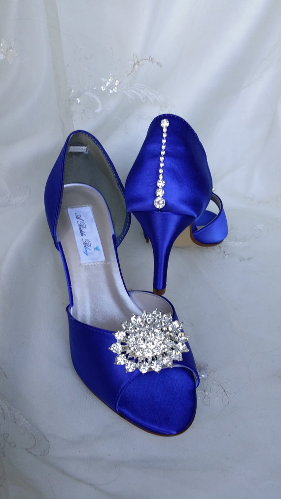 Свадьба - Wedding Shoes Blue Bridal Shoes with Crystal Bling Design Over 100 Custom Color Choices Blue Wedding Shoes