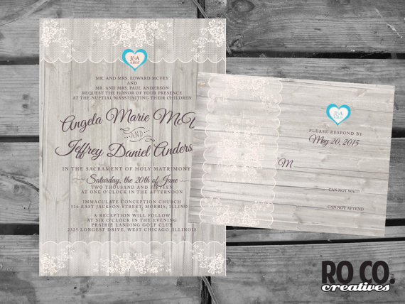Mariage - Rustic Shabby Chic Wood and Lace Printable Wedding Invitation