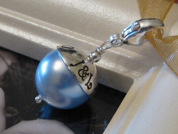 Свадьба - SOMETHING BLUE- Custom Hand stamped wedding bouquet charm with lobster clasp