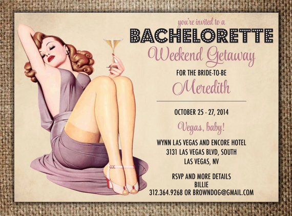 Mariage - Bachelorette Party/Hen's Night Invitation : Las Vegas Weekend Getaway with Pin Up Girl