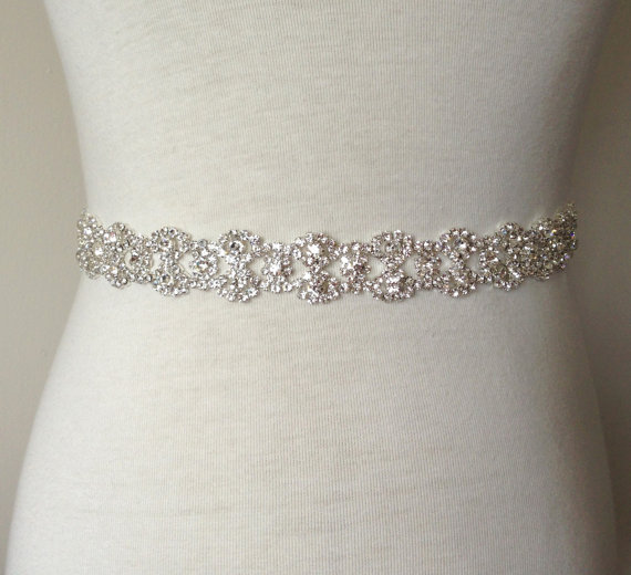 Silver sash rhinestone belt rhinestone sash bridal sash for Sparkly belt for wedding dress