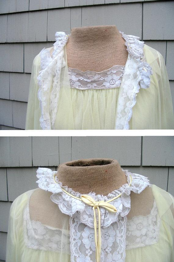 Свадьба - 1960s Lingerie - Pale Yellow Muslin and lace nightie and matching robe
