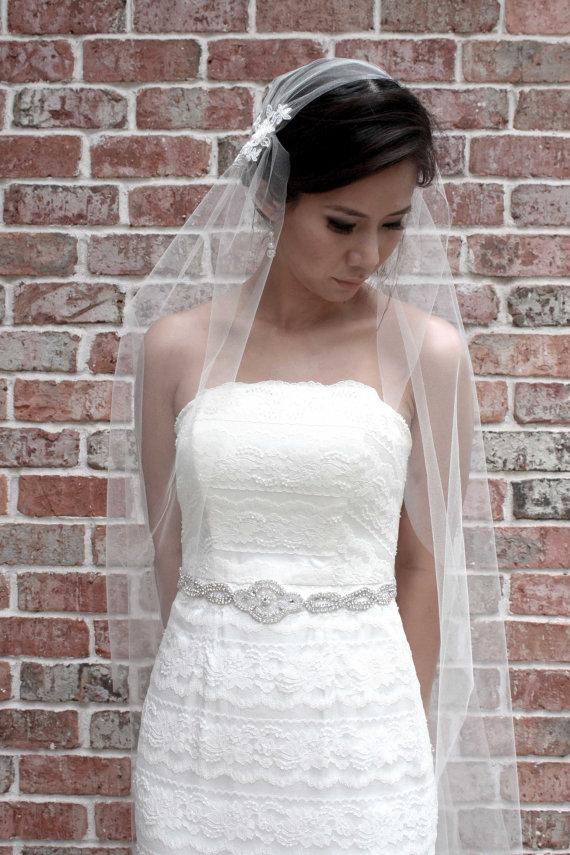 Свадьба - Kate** Juliet Cap Veil, Chapel Length, Wedding Veil, Tulle, White, Ivory