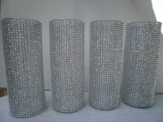 "زفاف - Set of (10)  9"" tall Cylinder  Rhinestone Vase  Bouquet Vases Centerpiece bling wedding vases Rhinestone Vases Wedding Bouquet Vase"