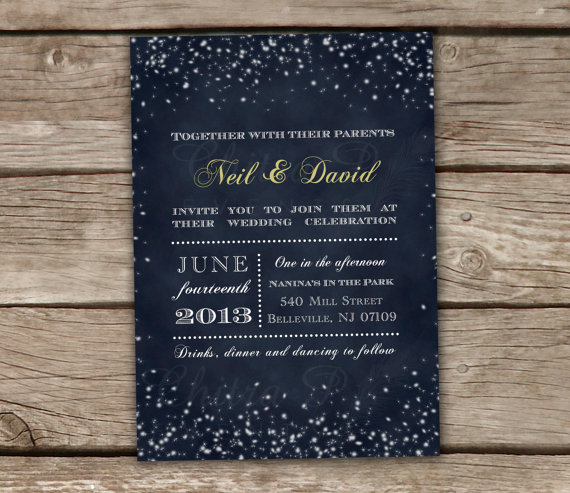 Свадьба - Starry Night Wedding Invitations - Printed or Printable, Chalkboard, Rehearsal Lights Bridal Shower, Baby, Engagement, Midnight Blue -