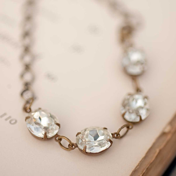 Mariage - Spring wedding bridesmaid gift crystal bracelet estate style jewelry vintage jewelry white crystal Jewels Gift For Her