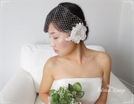 Свадьба - Ivory Birdcage Veil, Bridal Birdcage Veil, Ivory Veil, Wedding hair Accessory, Flower Veil by Selinish Design
