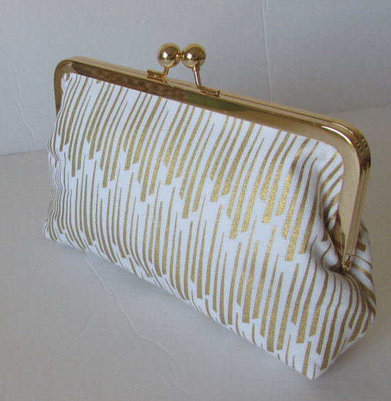 Свадьба - Gold and white Bridesmaid Clutch, Wedding  Accessory, bridal clutch